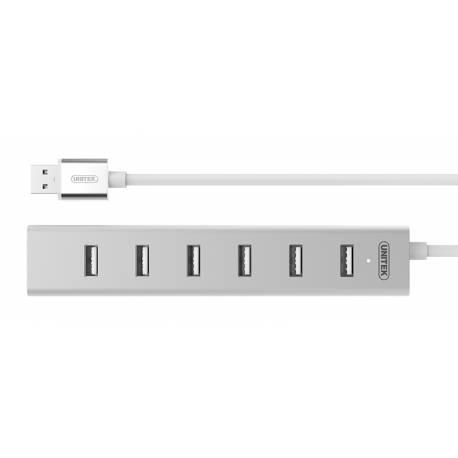 Unitek Y-2183 Aluminiowy Hub 7x USB 2.0 + zasilacz