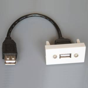 Adapter Mosaic 45x22,5 moduł USB na kablu gniazdo na gniazdo
