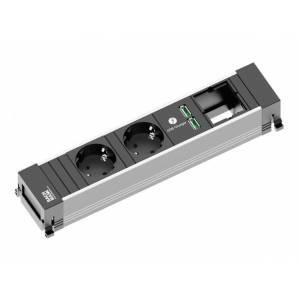 POWER FRAME listwa zasil. 4x: 2x gn.Schuko 1x ład.USB 1x wolne miejsce zas. 0