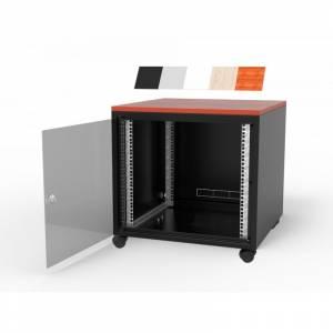 Biurowa szafka teleinformatyczna z blatem 600x600 15U czarna