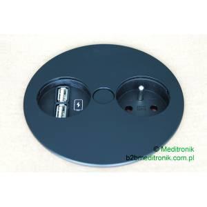 Gniazdko kuchenne TWIST 1x gn.UTE z bolc. uz. 1x lad. USB zas. 2,0m, wtycz. czarny ( zbliz. do RAL9005) pól mat 30GU (931.132)