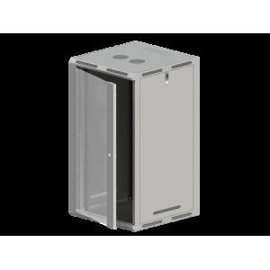 """Szafa wisząco stojąca 19"""" 21U 600x600, drzwi szklane szara"""