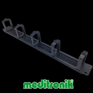 Organizer kabli 1U, panel szczotkowy z 5 metalowymi uchwytami, czarny