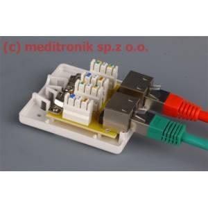 Gniazdo natynkowe podwójne RJ45 FTP kat.6 montaż LSA+