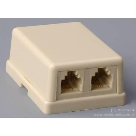 Gniazdo telefoniczne natynkowe 2xRJ11 6P4