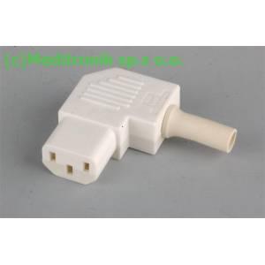 Złącze żeńskie C13 kątowe do montażu na kabel kolor biały
