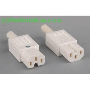 Złącze żeńskie C15 do montażu na kabel kolor biały