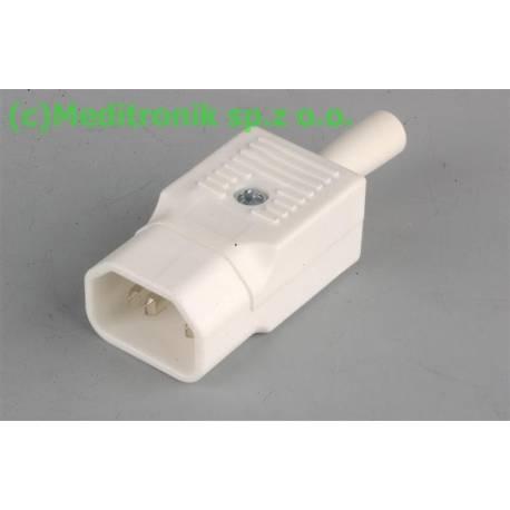 Złącze męskie C14 do montażu na kabel kolor biały