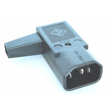 Złącze męskie C14 kątowe do montażu na kabel kolor czarny