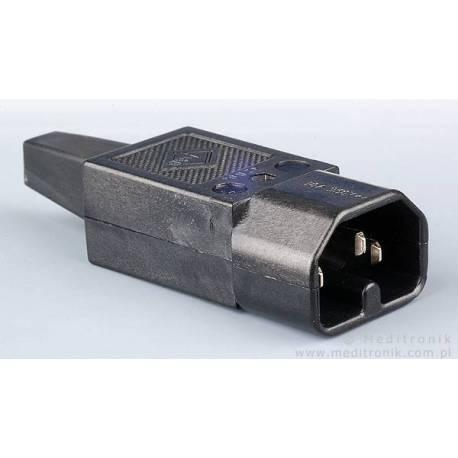 Złącze męskie C16 do montażu na kabel kolor czarny