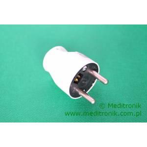 Złącze męskie z uziemieniem do montażu na kabel kolor biały