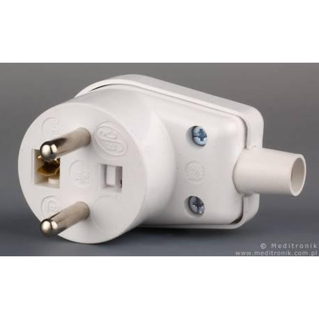Złącze męskie z uziemieniem kątowe do montażu na kabel białe