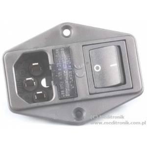 Gniazdo męskie C14 na panel przykręcane wyłącznik i bezpiecz