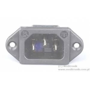 Złącze C14 na panel przykręcane rozstaw 40mm styk 4,8mm