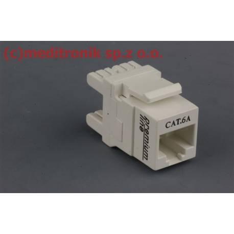 Moduł keystone gniazdo RJ45 UTP kat.6a białe montaż poziomy
