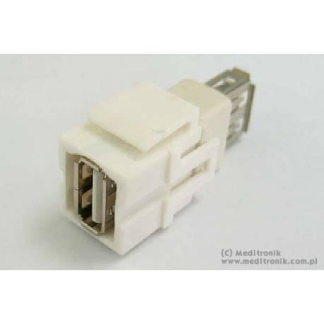 Moduł keystone USB gniazdo A na gniazdo A kolor biały