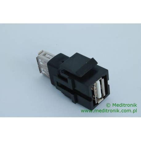 Moduł keystone USB gniazdo A na gniazdo A kolor czarny