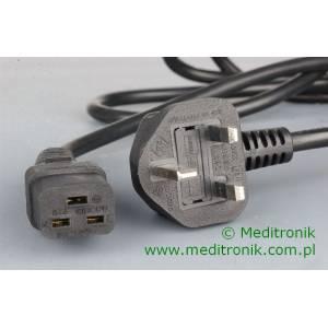 Kabel zasilający angielski złacze BS1363 na C19 długość 2,5m