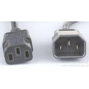 Przedłużacz kabla zasilającego złącza C13 / C14 długość 0,5m