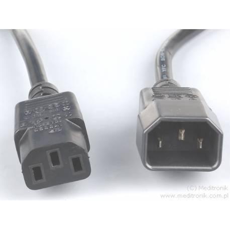 Przedłużacz kabla zasilającego złącza C13 / C14 długość 1,8m