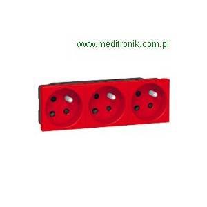 Mosaic gniazdo potrójne 16A, 2P+Z, z blokadą, czerwone.