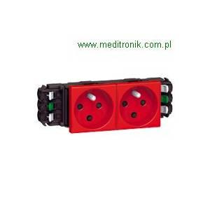 Mosaic gniazdo do kanałów DLP 2X2P+Z czerwone.