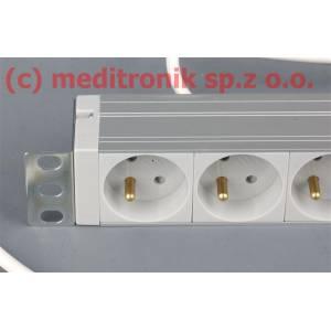 """Listwa zasilająca 19"""" 6 gniazd 230V kabel 2m wtyk C14"""