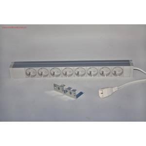 """Listwa zasilająca 19"""" 8 gniazd 230V kabel 3m wtyk C14"""