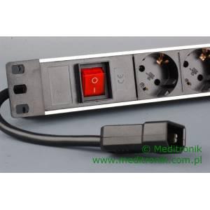 """Listwa zasilająca 19"""" 8 gniazd 230V kabel 0,15m wtyk C14"""