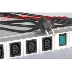 """Listwa zasilająca 19"""" 7 gniazd C13 kabel 3m wtyk SCHUKO"""