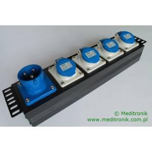 """Listwa zasilająca 19"""" 4 gniazd IEC 60309 i 1 wtyk IEC 60309"""