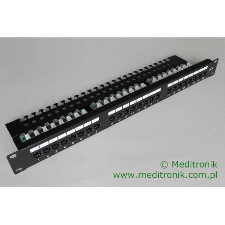 "Patch panel 24 porty UTP kat.5e 1U 19"" z organizerem"