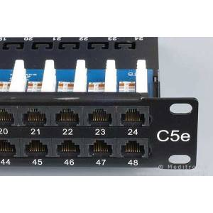 """Patch panel 48 portów UTP kat.5e 1U 19"""" z organizerem"""