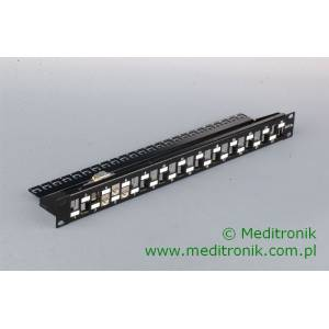 "Patch panel do modułów keystone 24 porty 1U 19""z organizerem"