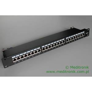 "Patch panel 24 porty FTP kat.6a 1U 19"" z organizerem"