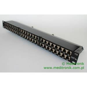 "Patch panel 48 portów FTP kat.6a 1U 19"" z organizerem"