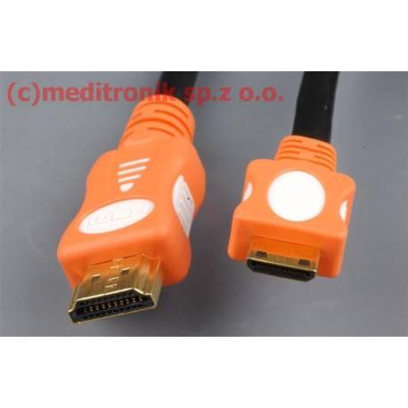 Kabel HDMI v1.4 długośc 1,8m wtyk HDMI na wtyk mini HDMI