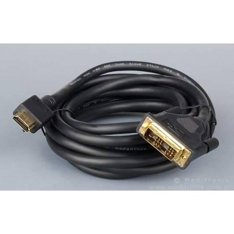 Kabel wtyk HDMI na wtyk DVI single link 18+1pin długość 3m