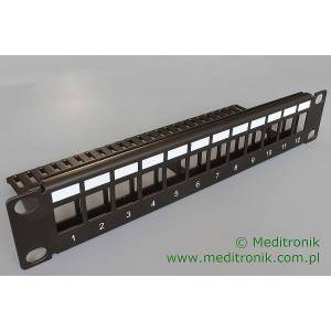 Patch panel do modułów keystone 12 portów 1U 10""