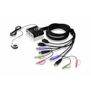 2-portowy przełącznik USB kabla HDMI/Audio KVM ze zdalnym selektorem portu